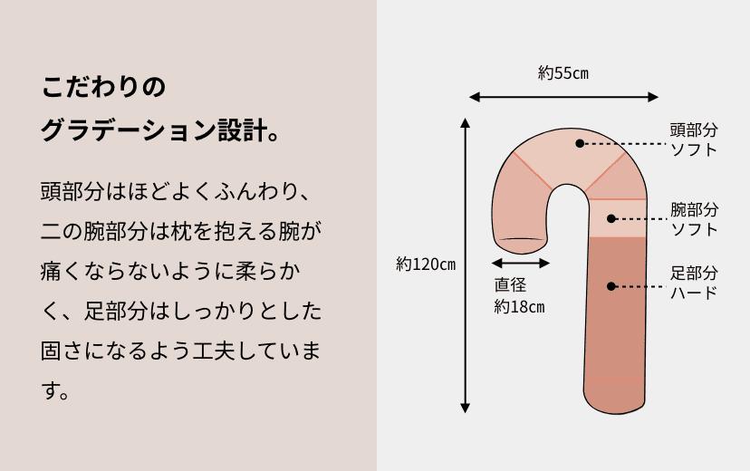 こだわりのグラデーション設計。 頭部分はほどよくふんわり、二の腕部分は枕を抱える腕が痛くならないように柔らかく、足部分はしっかりとした固さになるよう工夫しています。